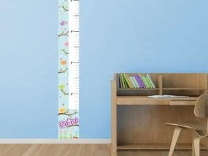 Patterned Birds Growth Chart on wall