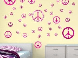 Pink Explosion Peace Signs Restickable Wall Graphics