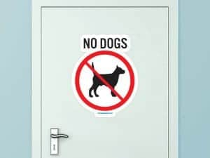 No Dogs Custom Door Graphic