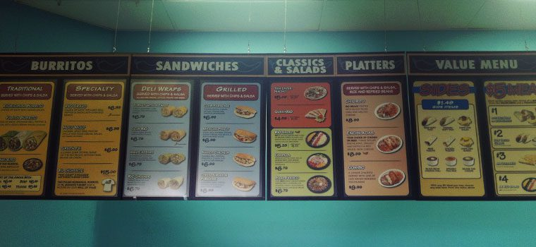 Menu Sticker Signs