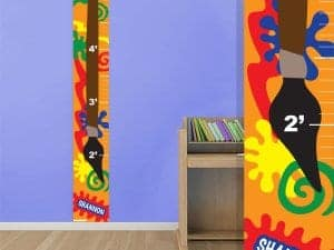 splatter paint growth chart wall decor