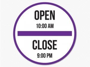 store hours circle sign open close removable graphic