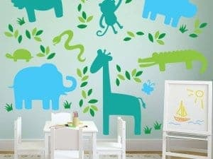animal Silhouette wall decals graphics room zoo stickers restickable