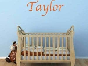 wall name sticker graphic restickable removable baby crib room wall