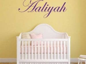 aaliyah script wall name graphic sticker removable room decor custom