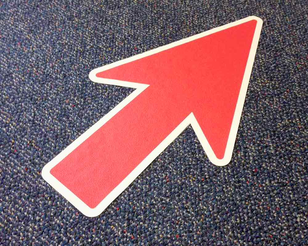 Removable Carpet Red Arrow Sticker On Floor